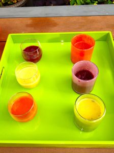 Soups served in shooter glasses