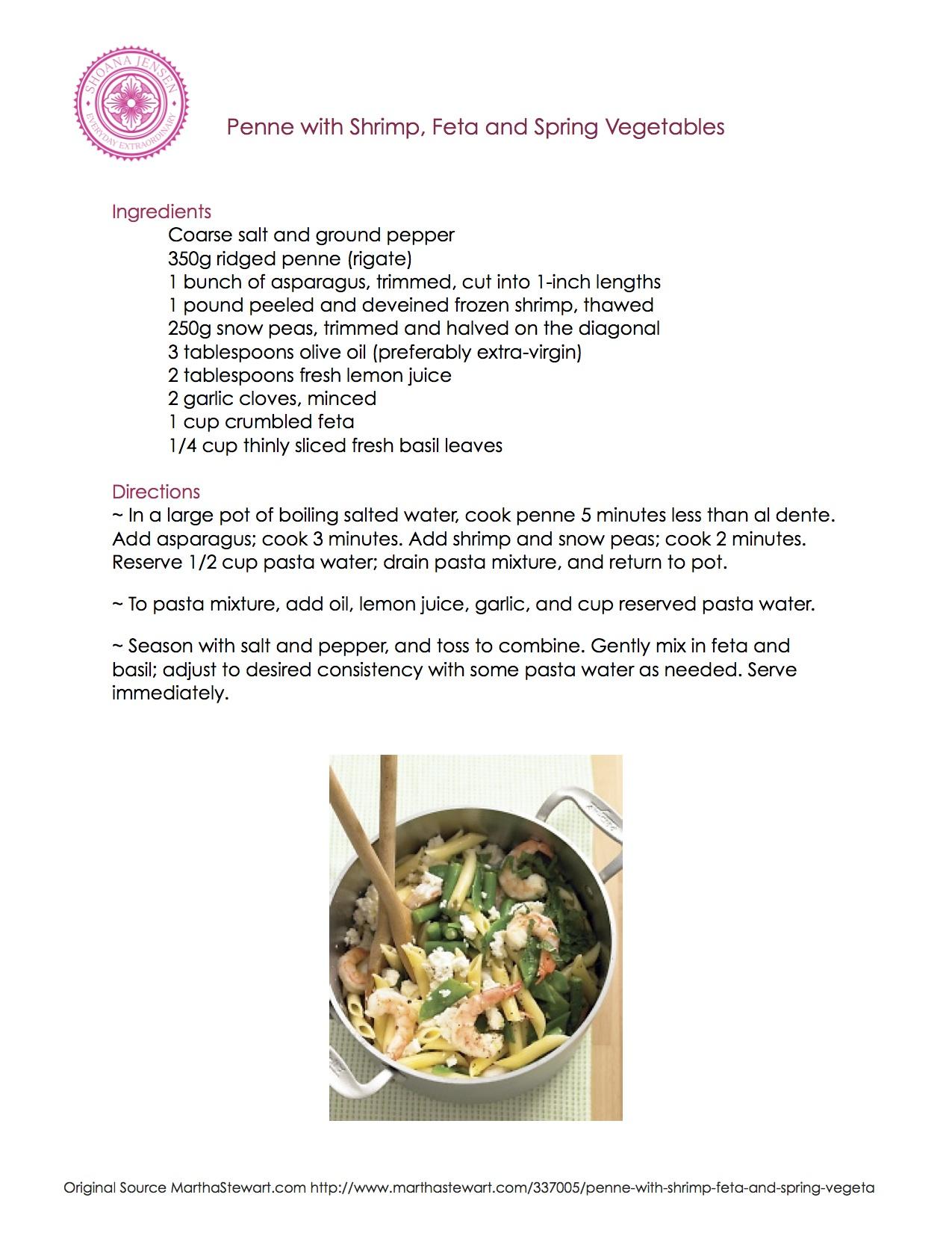 Recipe – Penne with Shrimp, Feta, and Spring Vegetables | Shoana ...