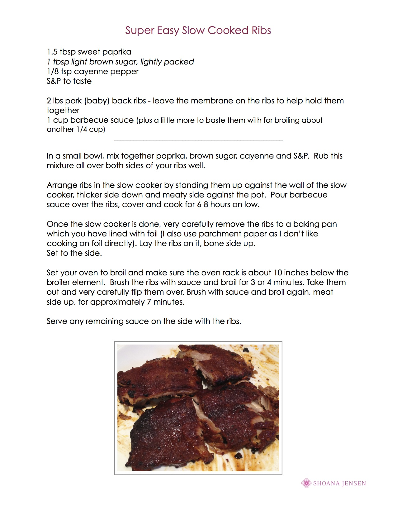 Easy Slow Cooked Barbecued Ribs Image