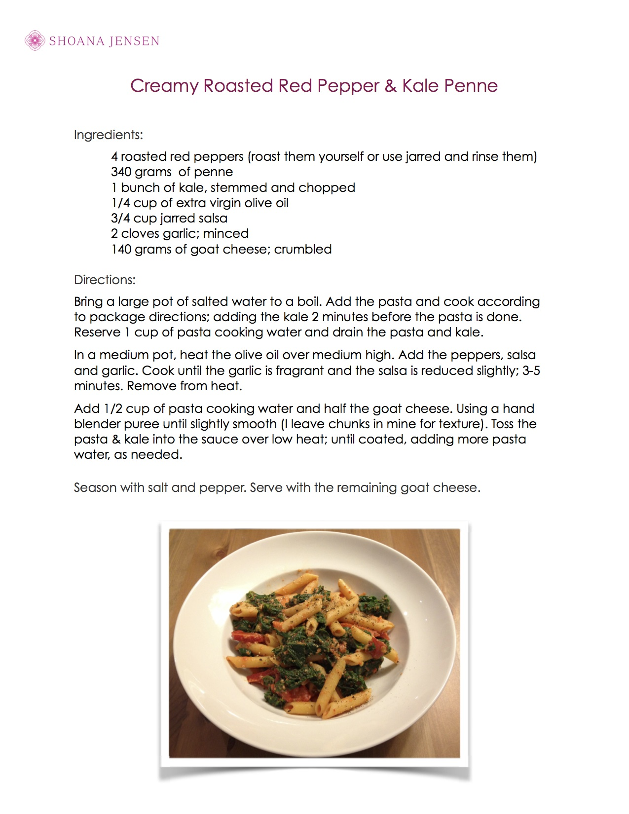 Creamed Roasted Red Pepper & Kale Penne
